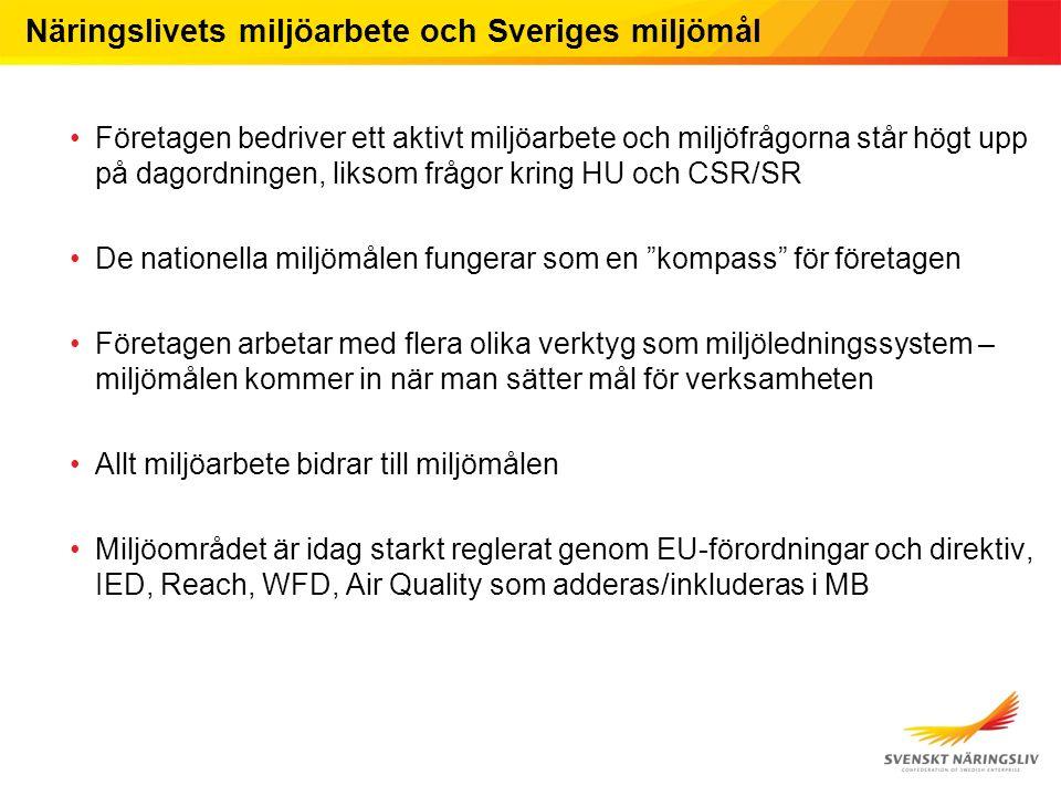 Näringslivets miljöarbete och Sveriges miljömål Företagen bedriver ett aktivt miljöarbete och miljöfrågorna står högt upp på dagordningen, liksom fråg