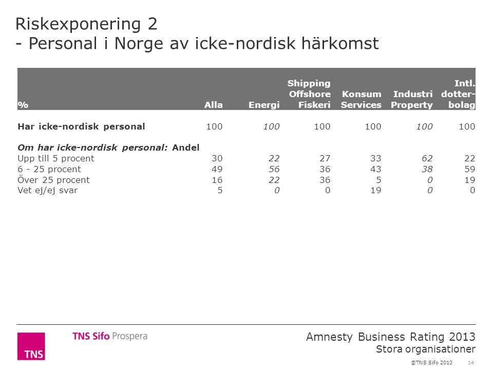 14 Amnesty Business Rating 2013 Stora organisationer ©TNS Sifo 2013 Riskexponering 2 - Personal i Norge av icke-nordisk härkomst %AllaEnergi Shipping Offshore Fiskeri Konsum Services Industri Property Intl.