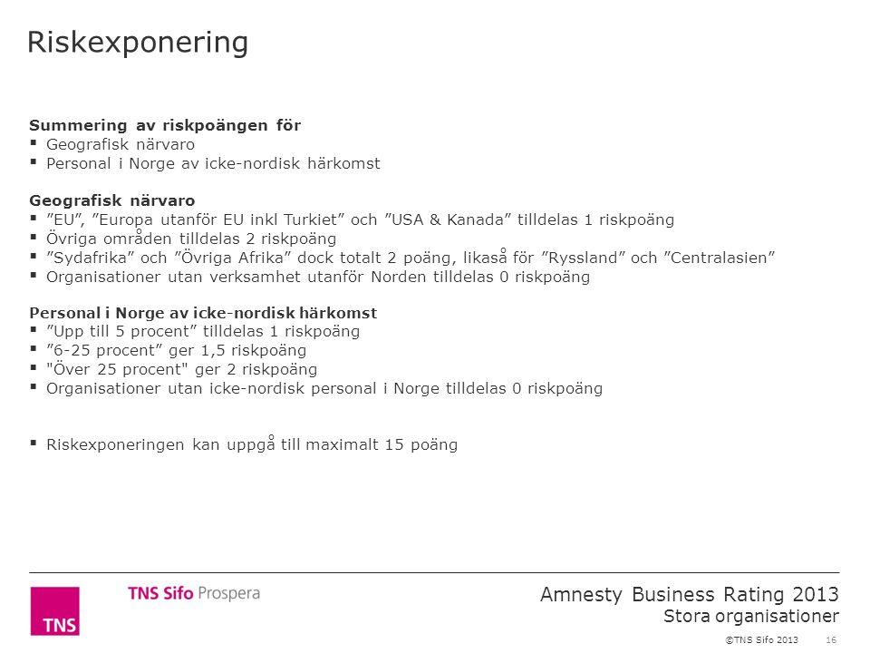 16 Amnesty Business Rating 2013 Stora organisationer ©TNS Sifo 2013 Riskexponering Summering av riskpoängen för  Geografisk närvaro  Personal i Norg