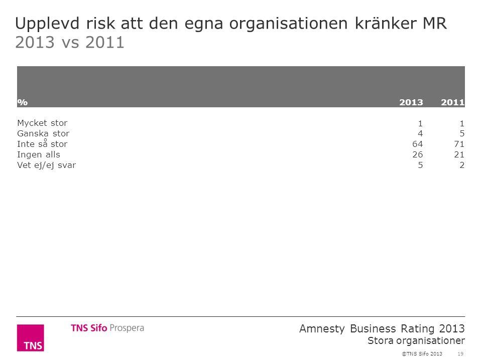 19 Amnesty Business Rating 2013 Stora organisationer ©TNS Sifo 2013 Upplevd risk att den egna organisationen kränker MR 2013 vs 2011 %2013 2011 Mycket stor 11 Ganska stor 45 Inte så stor 6471 Ingen alls 2621 Vet ej/ej svar 52
