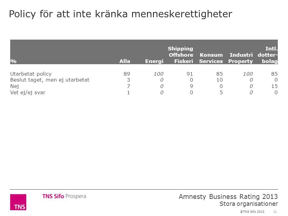 21 Amnesty Business Rating 2013 Stora organisationer ©TNS Sifo 2013 Policy för att inte kränka menneskerettigheter %AllaEnergi Shipping Offshore Fiskeri Konsum Services Industri Property Intl.
