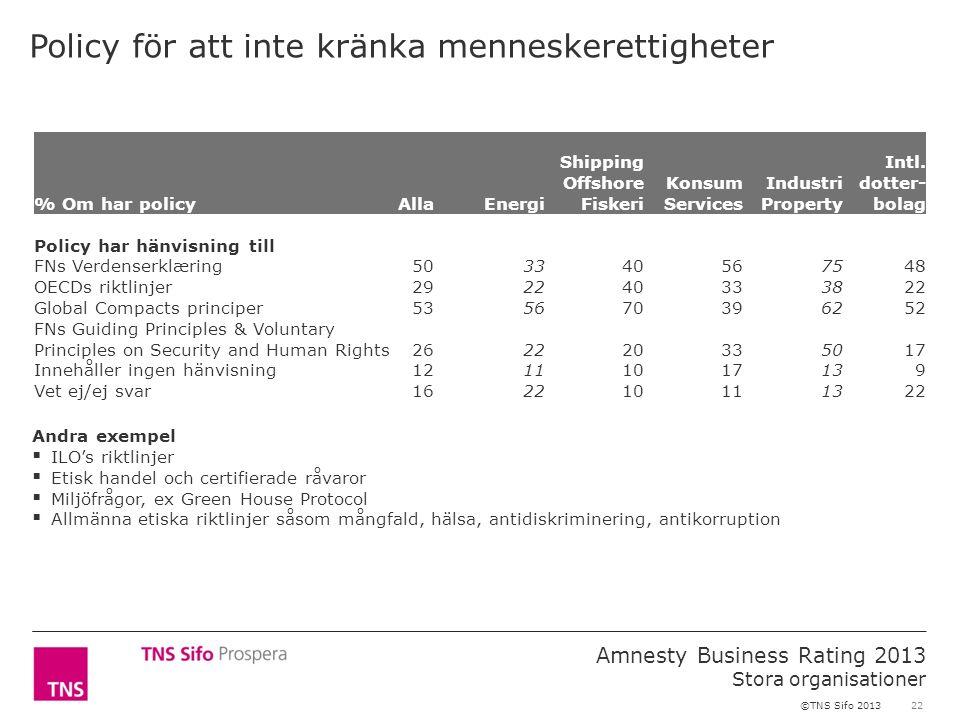 22 Amnesty Business Rating 2013 Stora organisationer ©TNS Sifo 2013 Policy för att inte kränka menneskerettigheter % Om har policyAllaEnergi Shipping