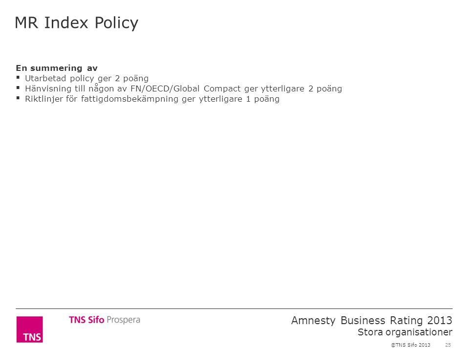 25 Amnesty Business Rating 2013 Stora organisationer ©TNS Sifo 2013 MR Index Policy En summering av  Utarbetad policy ger 2 poäng  Hänvisning till någon av FN/OECD/Global Compact ger ytterligare 2 poäng  Riktlinjer för fattigdomsbekämpning ger ytterligare 1 poäng