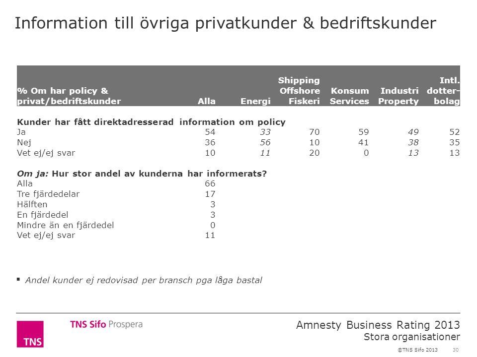 30 Amnesty Business Rating 2013 Stora organisationer ©TNS Sifo 2013 Information till övriga privatkunder & bedriftskunder % Om har policy & privat/bed