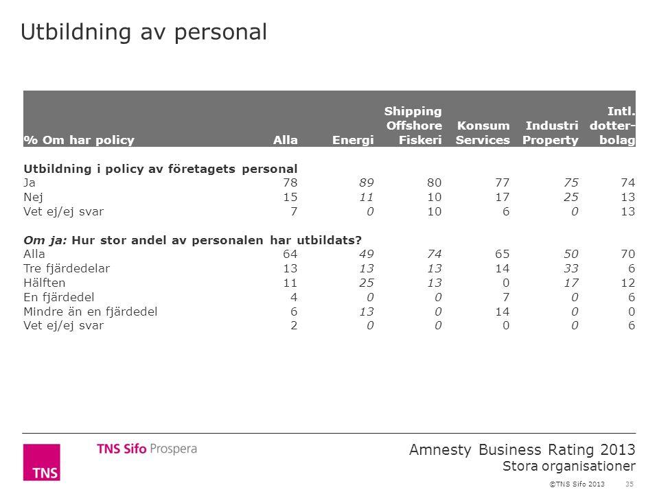 35 Amnesty Business Rating 2013 Stora organisationer ©TNS Sifo 2013 Utbildning av personal % Om har policyAllaEnergi Shipping Offshore Fiskeri Konsum
