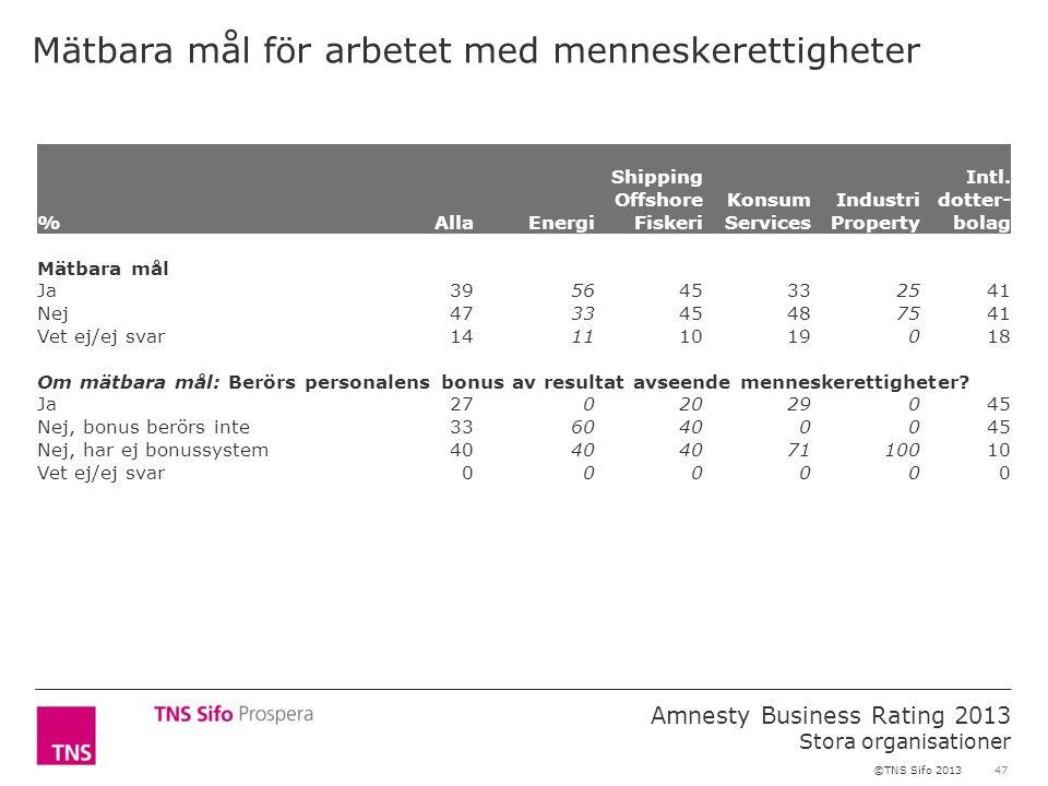 47 Amnesty Business Rating 2013 Stora organisationer ©TNS Sifo 2013 Mätbara mål för arbetet med menneskerettigheter %AllaEnergi Shipping Offshore Fisk