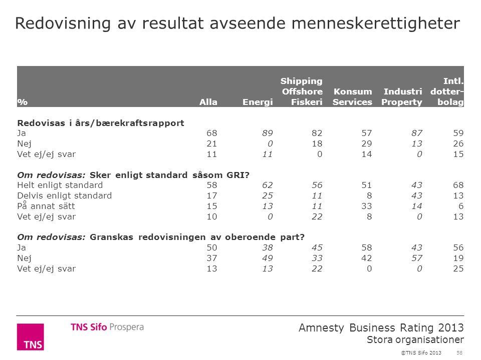 58 Amnesty Business Rating 2013 Stora organisationer ©TNS Sifo 2013 Redovisning av resultat avseende menneskerettigheter %AllaEnergi Shipping Offshore Fiskeri Konsum Services Industri Property Intl.
