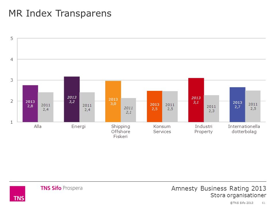 61 Amnesty Business Rating 2013 Stora organisationer ©TNS Sifo 2013 MR Index Transparens