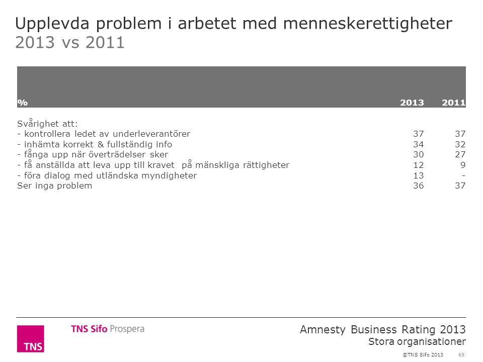 69 Amnesty Business Rating 2013 Stora organisationer ©TNS Sifo 2013 Upplevda problem i arbetet med menneskerettigheter 2013 vs 2011 %2013 2011 Svårigh