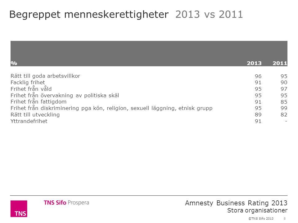 8 Amnesty Business Rating 2013 Stora organisationer ©TNS Sifo 2013 Begreppet menneskerettigheter 2013 vs 2011 %2013 2011 Rätt till goda arbetsvillkor