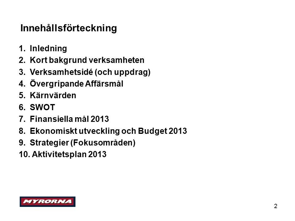 2 Innehållsförteckning 1.Inledning 2.Kort bakgrund verksamheten 3.Verksamhetsidé (och uppdrag) 4.Övergripande Affärsmål 5.Kärnvärden 6.SWOT 7.Finansiella mål 2013 8.Ekonomiskt utveckling och Budget 2013 9.Strategier (Fokusområden) 10.