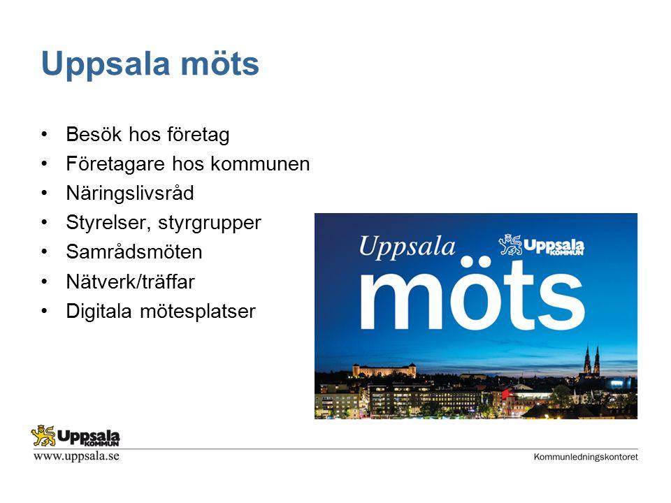 Uppsala möts Besök hos företag Företagare hos kommunen Näringslivsråd Styrelser, styrgrupper Samrådsmöten Nätverk/träffar Digitala mötesplatser