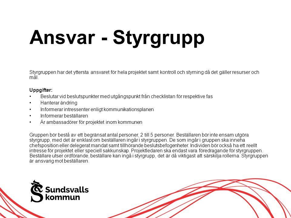 Allt innehåll innanför ramen Ansvar - Styrgrupp Styrgruppen har det yttersta ansvaret för hela projektet samt kontroll och styrning då det gäller resurser och mål.