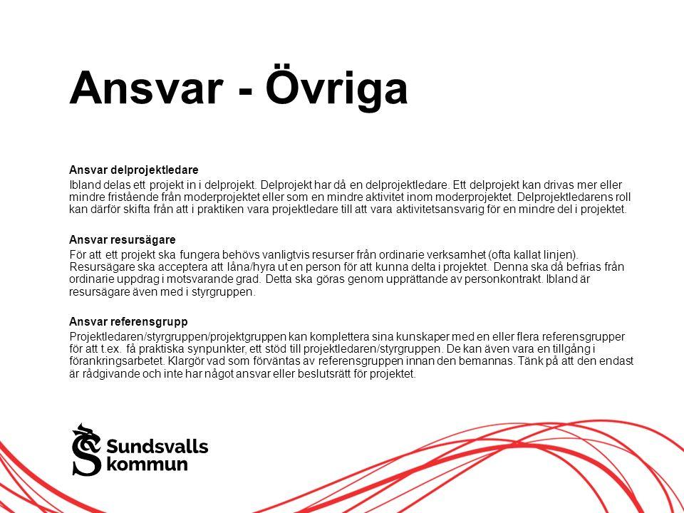 Allt innehåll innanför ramen Ansvar - Övriga Ansvar delprojektledare Ibland delas ett projekt in i delprojekt.