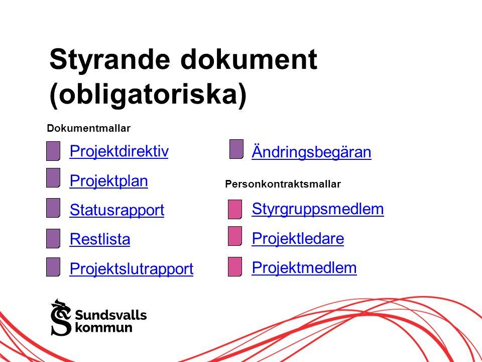 Allt innehåll innanför ramen Styrande dokument (obligatoriska) Projektdirektiv Projektplan Statusrapport Restlista Projektslutrapport Personkontraktsmallar Styrgruppsmedlem Projektledare Projektmedlem Dokumentmallar Ändringsbegäran