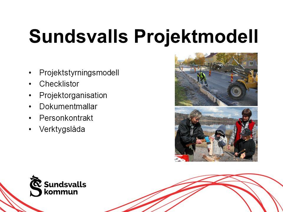 Allt innehåll innanför ramen Projekt i Sundsvalls kommun ska: Vara tidsbegränsade Ha en tillfällig organisation Ska ha tilldelade resurser Ska ha tydliga mål Ska genomföras enligt Projektmodellen