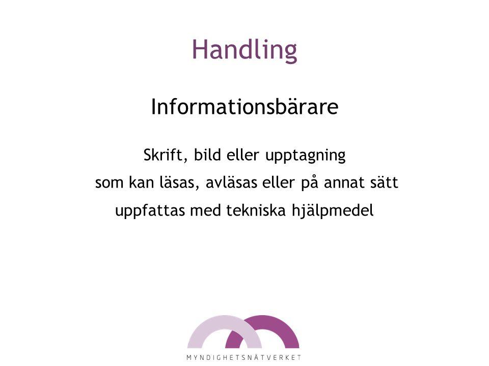 Handling Informationsbärare Skrift, bild eller upptagning som kan läsas, avläsas eller på annat sätt uppfattas med tekniska hjälpmedel