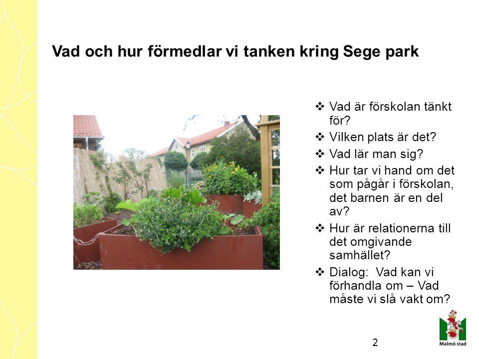 Vad och hur förmedlar vi tanken kring Sege park  Vad är förskolan tänkt för.