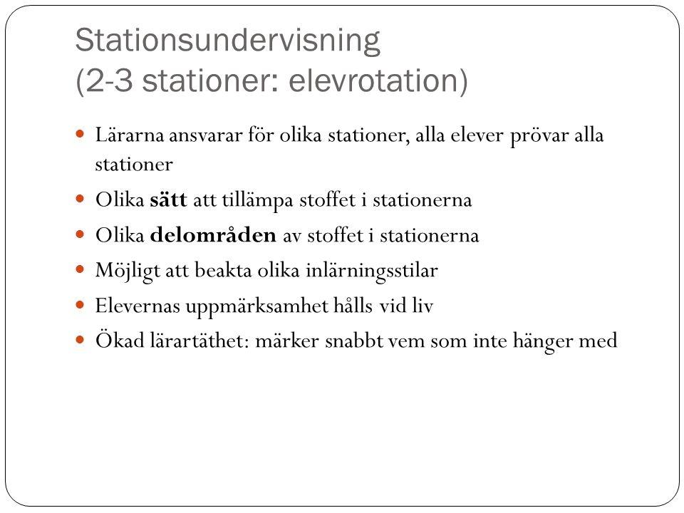 Lärarna ansvarar för olika stationer, alla elever prövar alla stationer Olika sätt att tillämpa stoffet i stationerna Olika delområden av stoffet i st