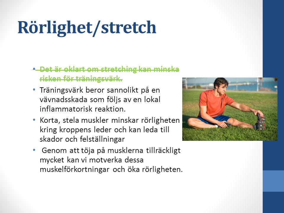 Rörlighet/stretch Det är oklart om stretching kan minska risken för träningsvärk.