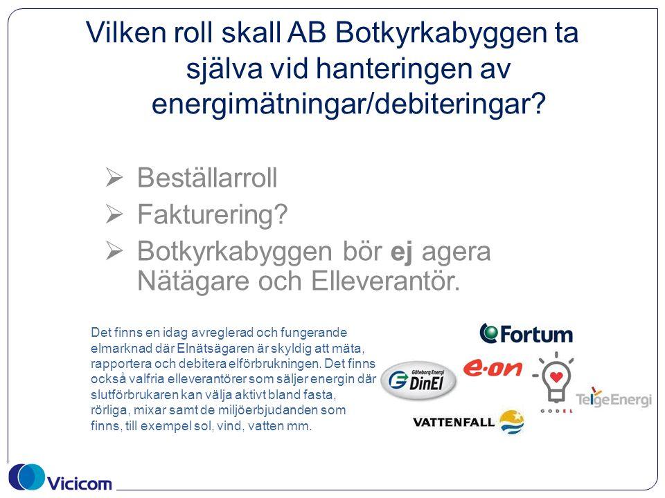 Vilken roll skall AB Botkyrkabyggen ta själva vid hanteringen av energimätningar/debiteringar.