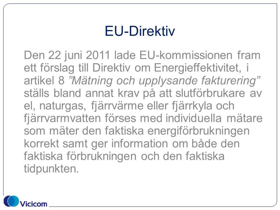 EU-Direktiv Den 22 juni 2011 lade EU-kommissionen fram ett förslag till Direktiv om Energieffektivitet, i artikel 8 Mätning och upplysande fakturering ställs bland annat krav på att slutförbrukare av el, naturgas, fjärrvärme eller fjärrkyla och fjärrvarmvatten förses med individuella mätare som mäter den faktiska energiförbrukningen korrekt samt ger information om både den faktiska förbrukningen och den faktiska tidpunkten.