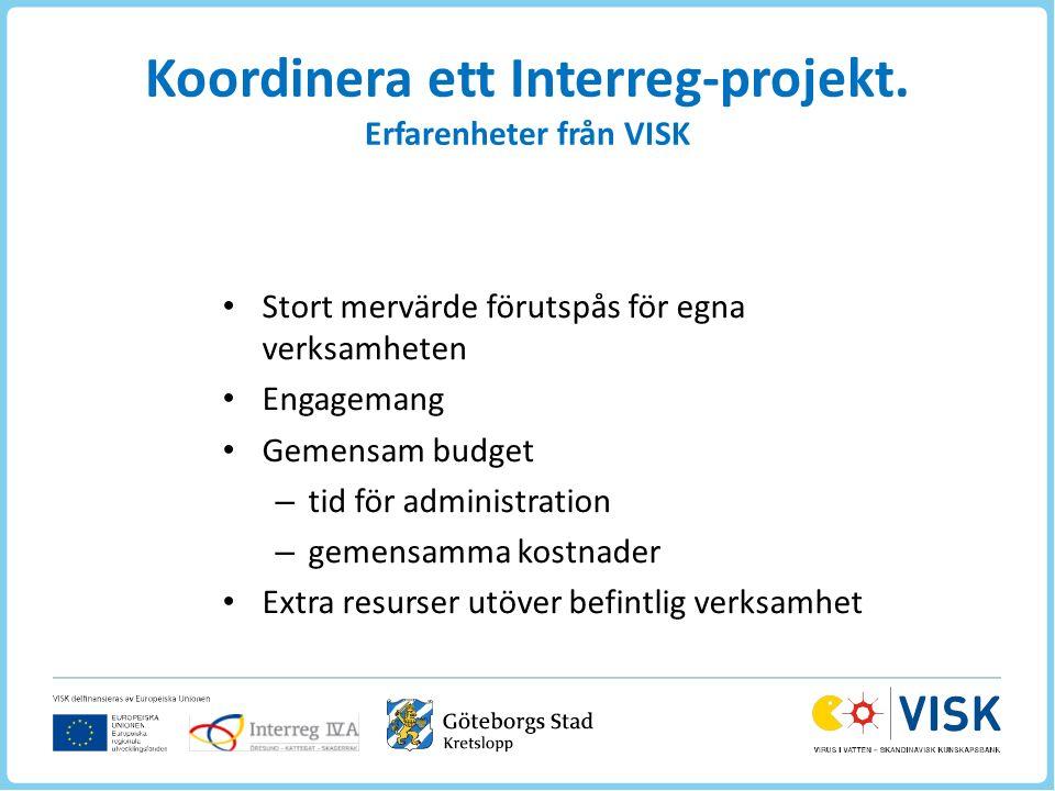 Koordinera ett Interreg-projekt.