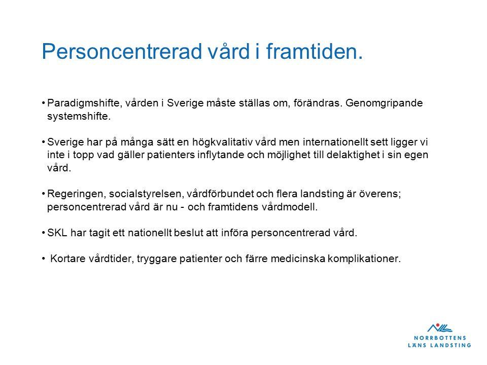 Personcentrerad vård i framtiden. Paradigmshifte, vården i Sverige måste ställas om, förändras.