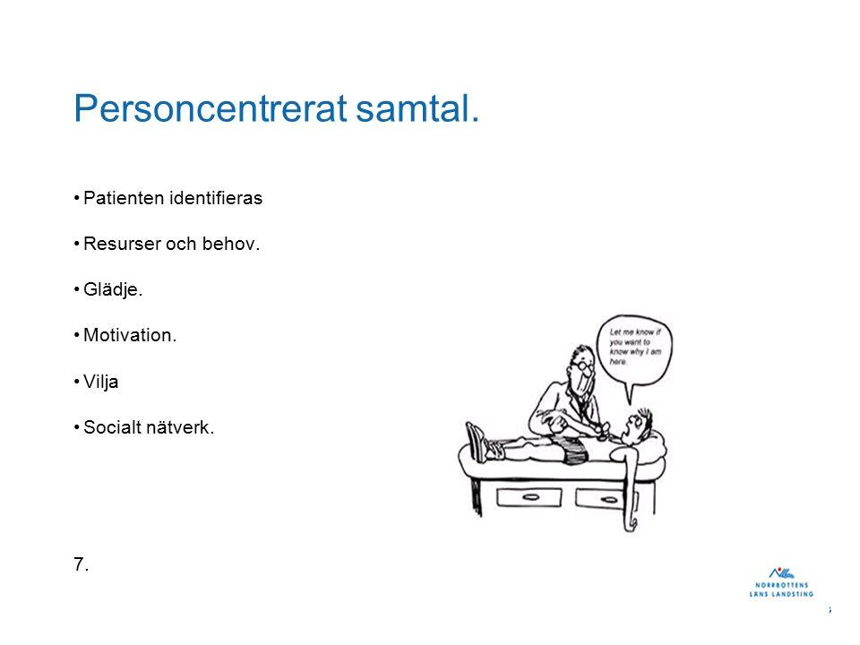Personcentrerat samtal. Patienten identifieras Resurser och behov.