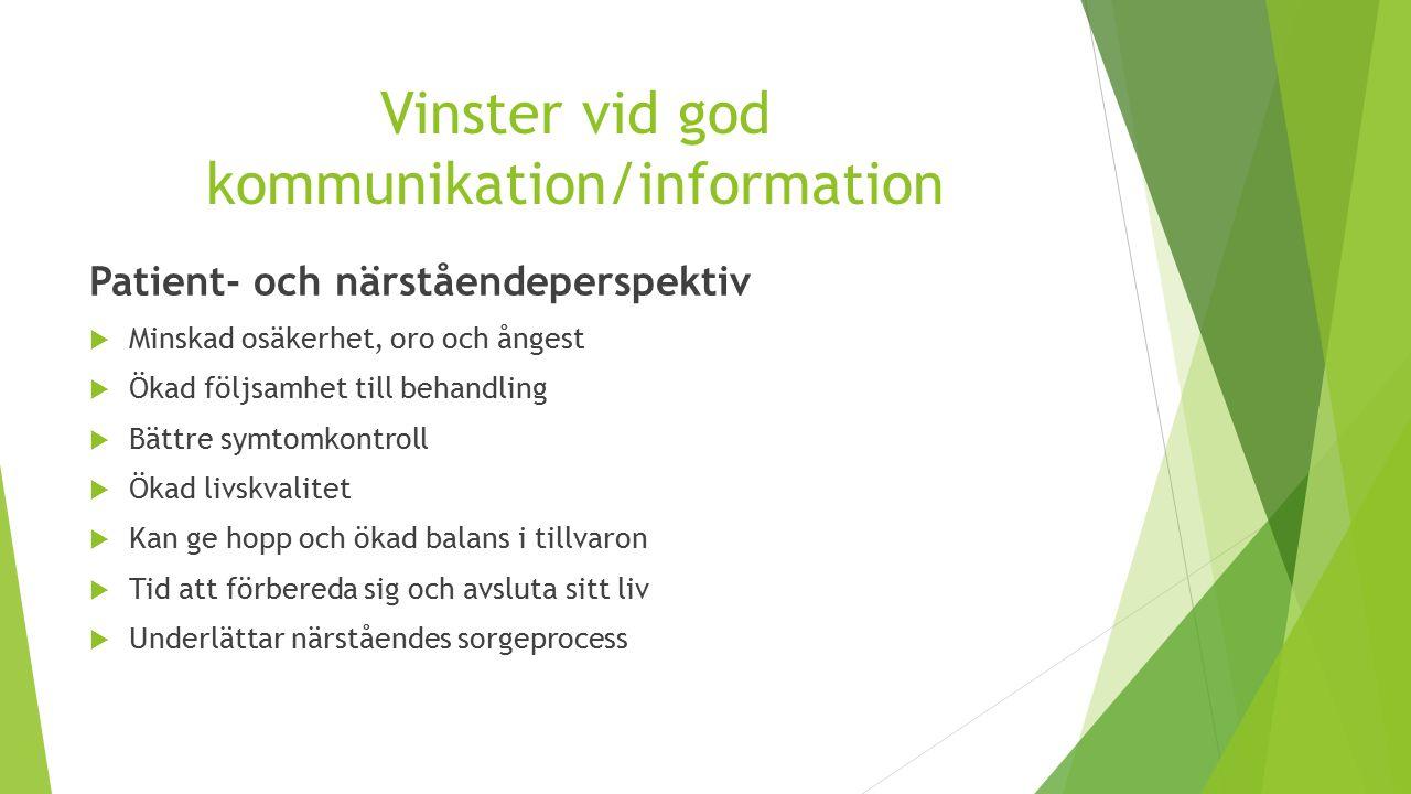 Vinster vid god kommunikation/information Patient- och närståendeperspektiv  Minskad osäkerhet, oro och ångest  Ökad följsamhet till behandling  Bä