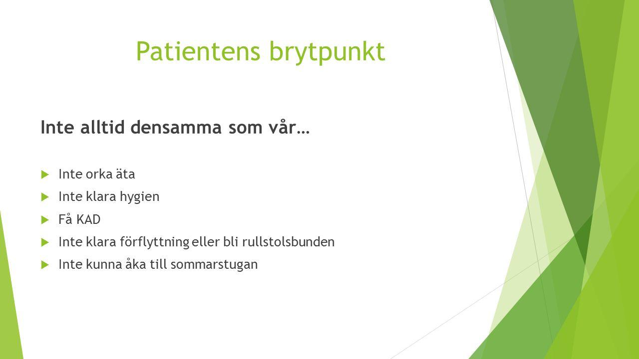 Patientens brytpunkt Inte alltid densamma som vår…  Inte orka äta  Inte klara hygien  Få KAD  Inte klara förflyttning eller bli rullstolsbunden  Inte kunna åka till sommarstugan