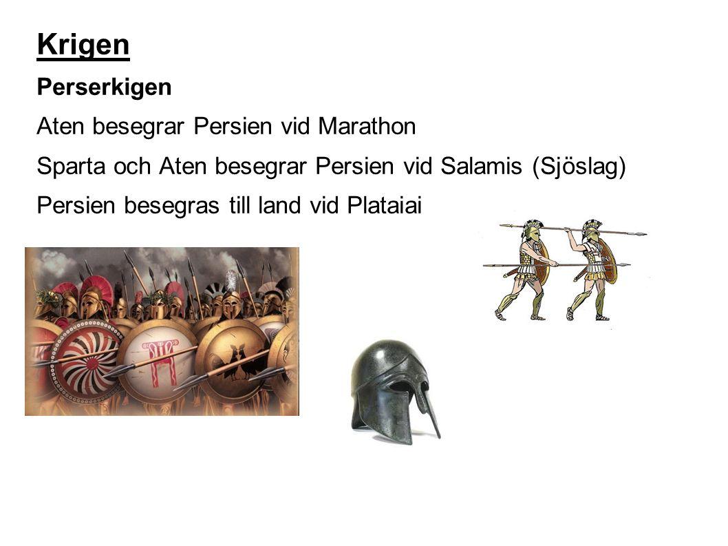 Krigen Perserkigen Aten besegrar Persien vid Marathon Sparta och Aten besegrar Persien vid Salamis (Sjöslag) Persien besegras till land vid Plataiai