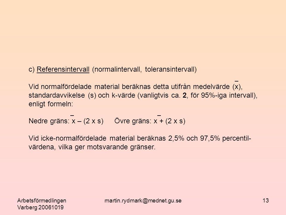 Arbetsförmedlingen Varberg 20061019 martin.rydmark@mednet.gu.se13 c) Referensintervall (normalintervall, toleransintervall)  Vid normalfördelade material beräknas detta utifrån medelvärde (x), standardavvikelse (s) och k-värde (vanligtvis ca.