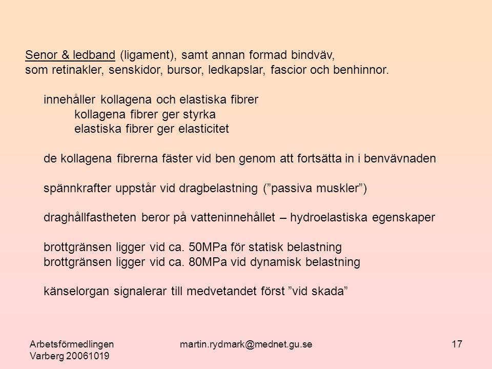 Arbetsförmedlingen Varberg 20061019 martin.rydmark@mednet.gu.se17 Senor & ledband (ligament), samt annan formad bindväv, som retinakler, senskidor, bursor, ledkapslar, fascior och benhinnor.
