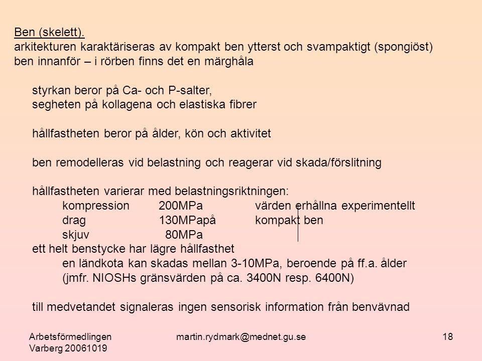 Arbetsförmedlingen Varberg 20061019 martin.rydmark@mednet.gu.se18 Ben (skelett).