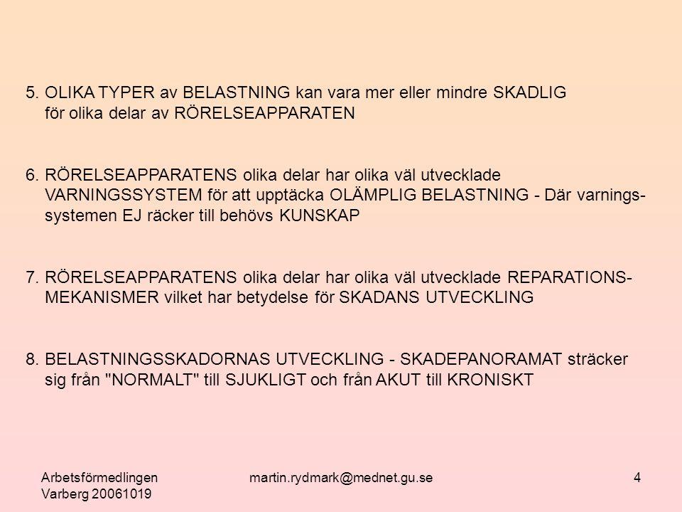 Arbetsförmedlingen Varberg 20061019 martin.rydmark@mednet.gu.se5 FAKTORER SOM KAN PÅVERKAR BELASTNINGSSKADANS UPPKOMST 1.