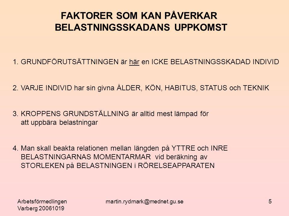 Arbetsförmedlingen Varberg 20061019 martin.rydmark@mednet.gu.se16 Muskler, fortsättning.