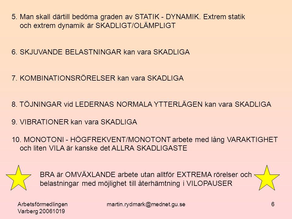 Arbetsförmedlingen Varberg 20061019 martin.rydmark@mednet.gu.se7 FRÅGA: HUR UPPTÄCKER MAN RISK FÖR BELASTNINGSSKADA.