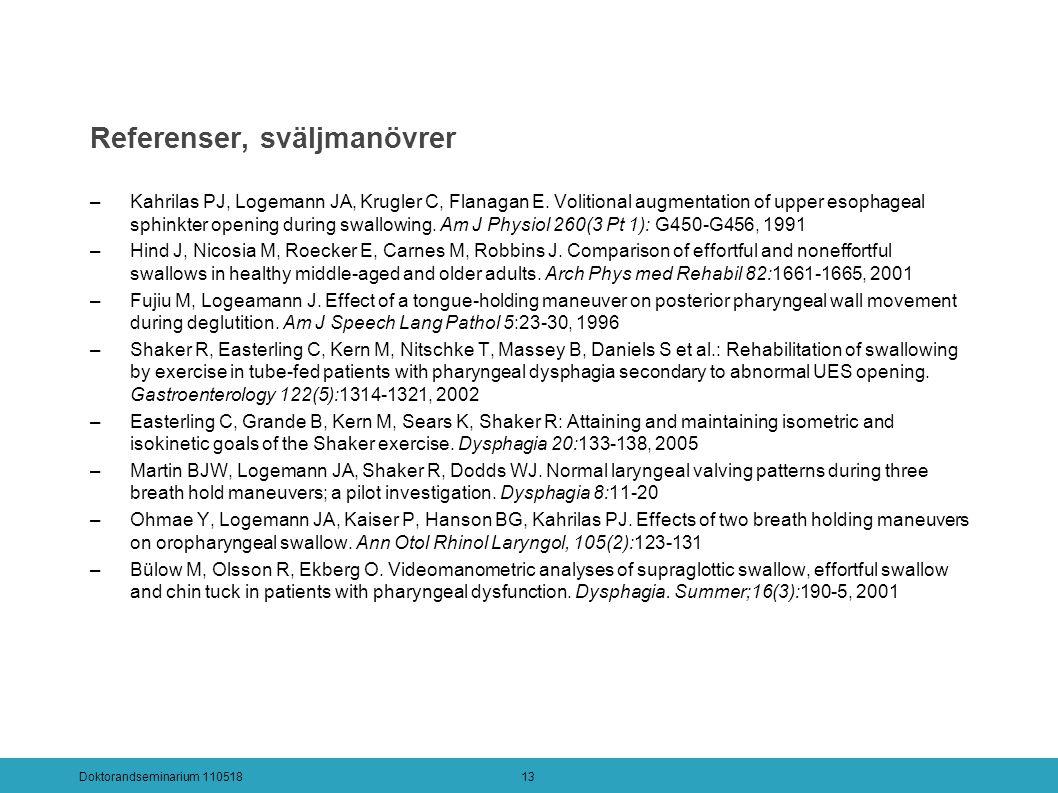 Referenser, sväljmanövrer –Kahrilas PJ, Logemann JA, Krugler C, Flanagan E.