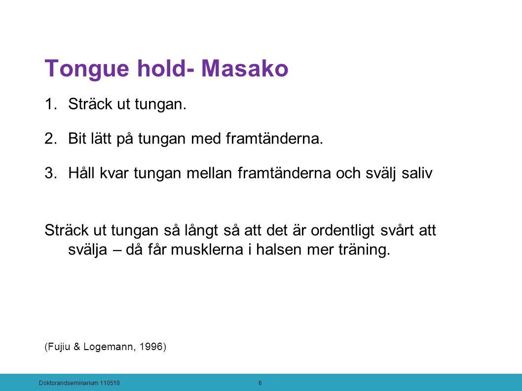Tongue hold- Masako 1.Sträck ut tungan. 2.Bit lätt på tungan med framtänderna.