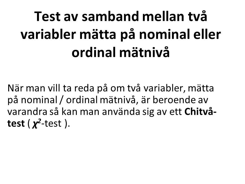 Test av samband mellan två variabler mätta på nominal eller ordinal mätnivå När man vill ta reda på om två variabler, mätta på nominal / ordinal mätnivå, är beroende av varandra så kan man använda sig av ett Chitvå- test ( χ 2 -test ).