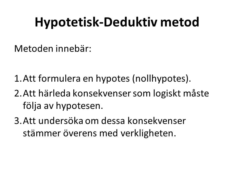 Hypotetisk-Deduktiv metod Metoden innebär: 1.Att formulera en hypotes (nollhypotes).