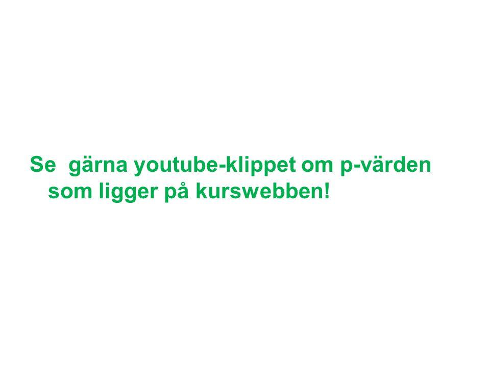 Se gärna youtube-klippet om p-värden som ligger på kurswebben!