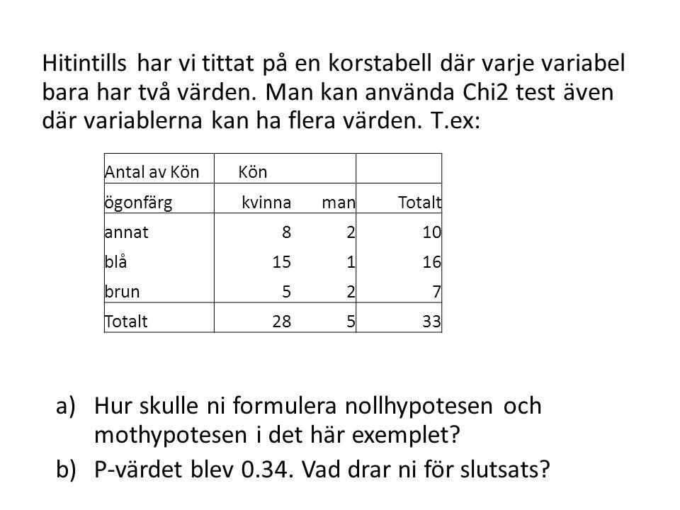 Hitintills har vi tittat på en korstabell där varje variabel bara har två värden.
