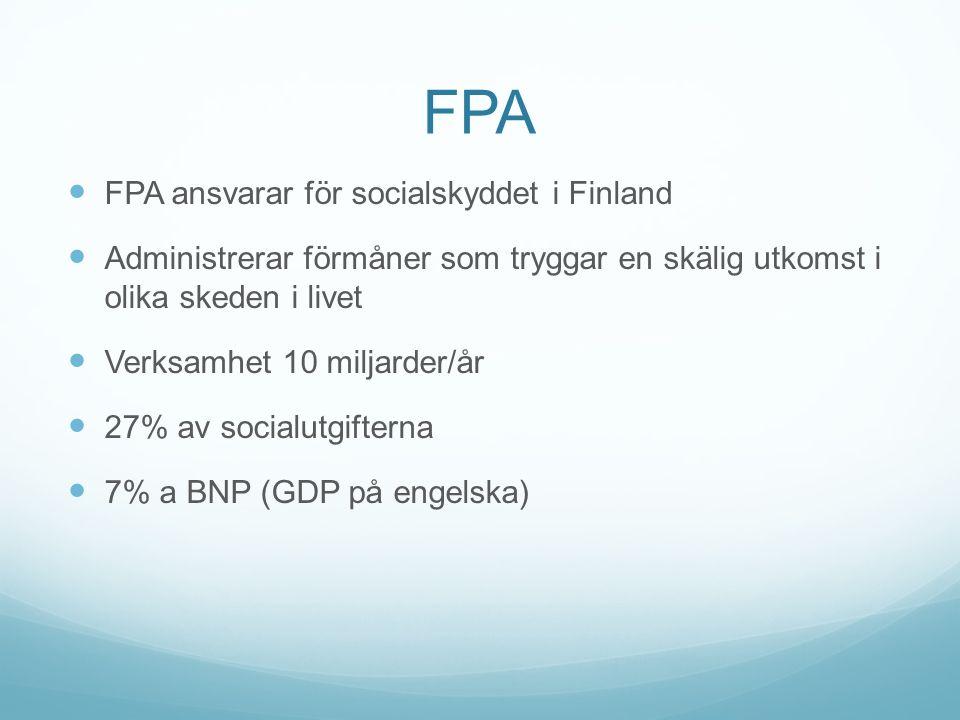 FPA FPA ansvarar för socialskyddet i Finland Administrerar förmåner som tryggar en skälig utkomst i olika skeden i livet Verksamhet 10 miljarder/år 27% av socialutgifterna 7% a BNP (GDP på engelska)