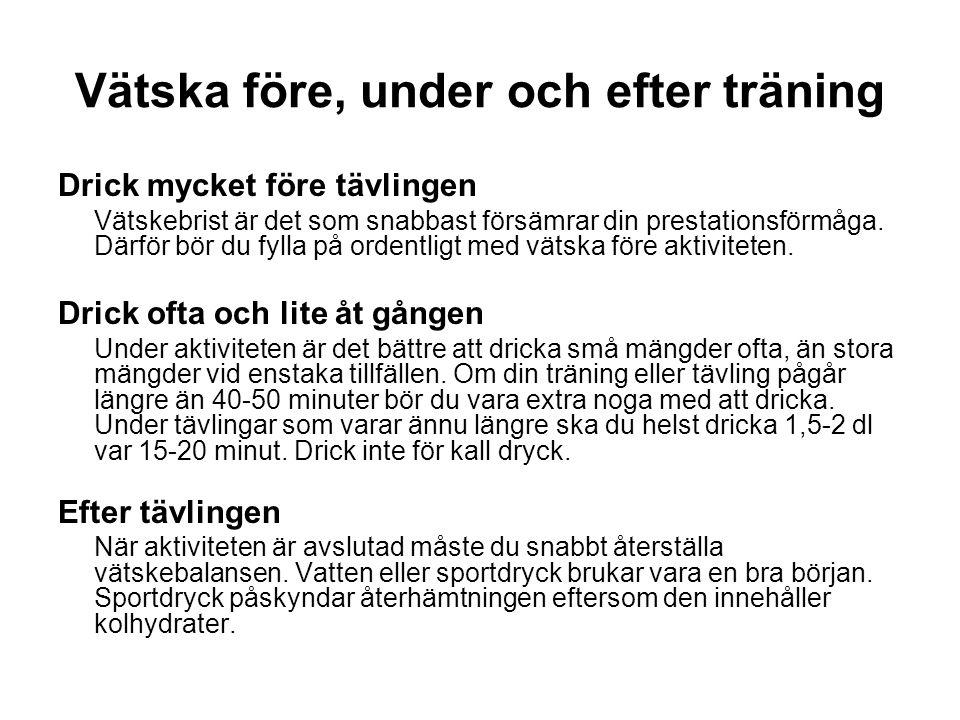 Vätska före, under och efter träning Drick mycket före tävlingen Vätskebrist är det som snabbast försämrar din prestationsförmåga.