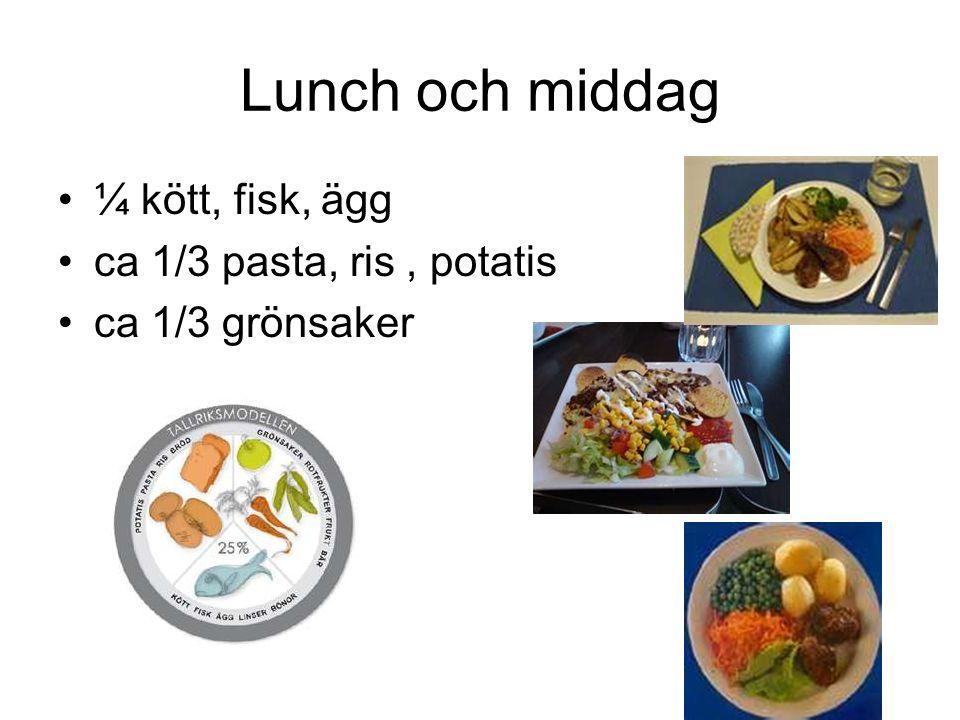 Lunch och middag ¼ kött, fisk, ägg ca 1/3 pasta, ris, potatis ca 1/3 grönsaker