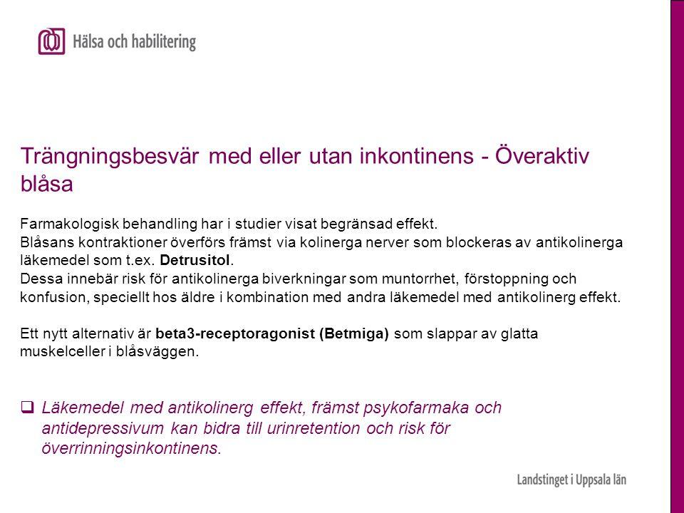 Trängningsbesvär med eller utan inkontinens - Överaktiv blåsa Farmakologisk behandling har i studier visat begränsad effekt. Blåsans kontraktioner öve
