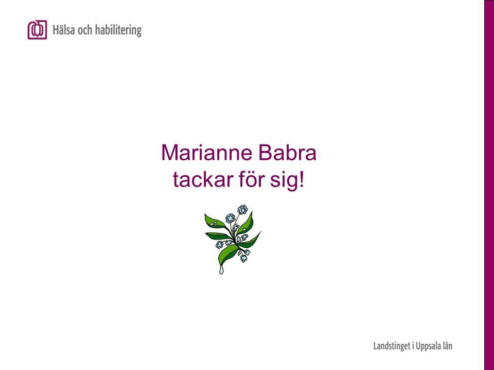 Marianne Babra tackar för sig!