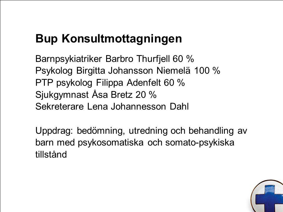 Barnpsykiatriker Barbro Thurfjell 60 % Psykolog Birgitta Johansson Niemelä 100 % PTP psykolog Filippa Adenfelt 60 % Sjukgymnast Åsa Bretz 20 % Sekrete